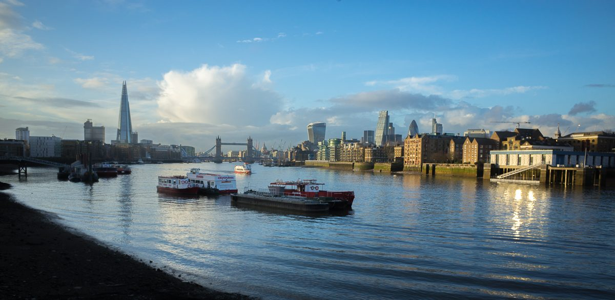 View of London overlooking the Thames.